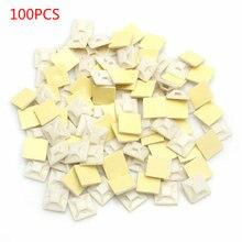 100 шт/пакет белая самоклеящаяся кабельные стяжки провода обжимной