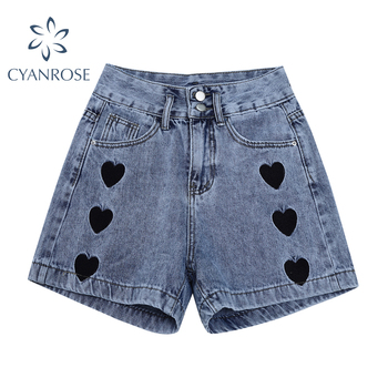 2021 New Summer Fashion Women High Waist Button Vintage Print Leg Jeans Shorts Casual Female Loose Streetwear Denim Shorts 1
