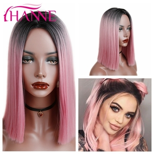 HANNE Ombre Pink/Brown/Grey Straight Shoulder Length Synthetic Wigs Heat Resistant Hair For Black/White Women Cosplay Or Party(China)