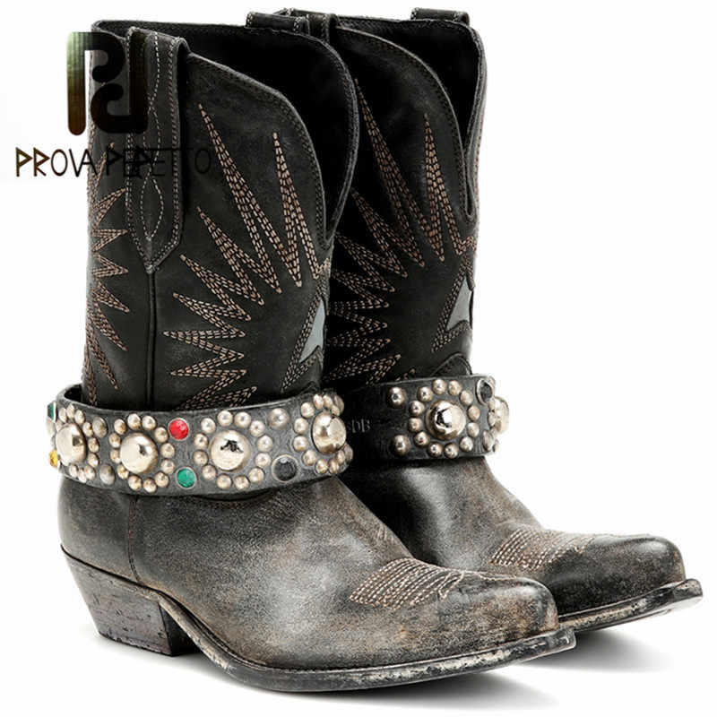 Prova Perfetto yeni toka Stivali Donna bahar sonbahar blok topuk çizmeler kadın platformu artan Punk tarzı ayakkabı artı boyutu 35 -44