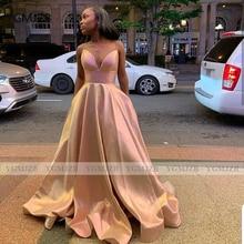 Elegant Long Evening Dresses 2020 A-Line Spaghetti Straps V Neck Sleeveless Pleat Satin Women Formal Prom Gown Party Dress elegant v neck sleeveless leaf print a line women s maxi dress