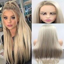Bombshell peruca cabelo sintético, raízes escuras ombre da platina reta perucas frontal de renda sintética resistente ao calor fibra natural para mulheres brancas