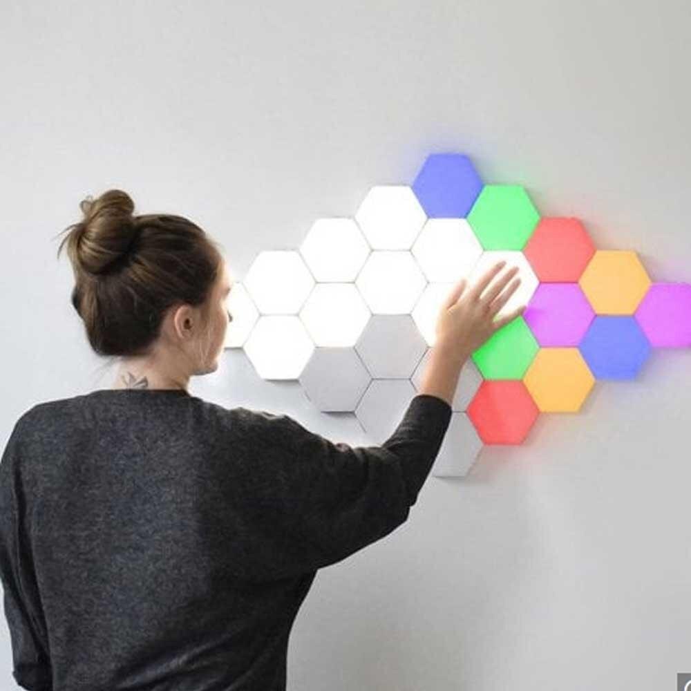 5-10 pièces de maison smart coloré RGB LED lumières géométrique tactile applique murale bricolage interrupteur tactile lampe quantique lampe LED hex lumière modulaire créatif décoratif applique tactile lampe quantique