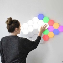 5-10 pieces of home smart colorful RGB LED lights geometric touch wall lamp DIY wall lamp touch switch quantum lamp LED hex light modular creative decorative wall lamp touch lamp quantum creative decorative wall lamp