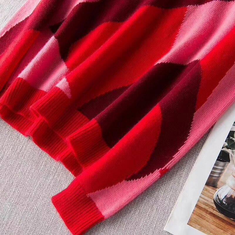 100% Cashmere Pullover di Qualità Donna Patchwork Maglione Donna Modello di Lavoro A Maglia A Maniche Lunghe Delle Signore casual Maglieria di Nuovo Modo - 6