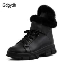 Gdgydh Fur Warm Winter Boots Women Casual Sneakers Winter Shoes Plush Inside Black White Platform Wedges Comfortable Big Size 43