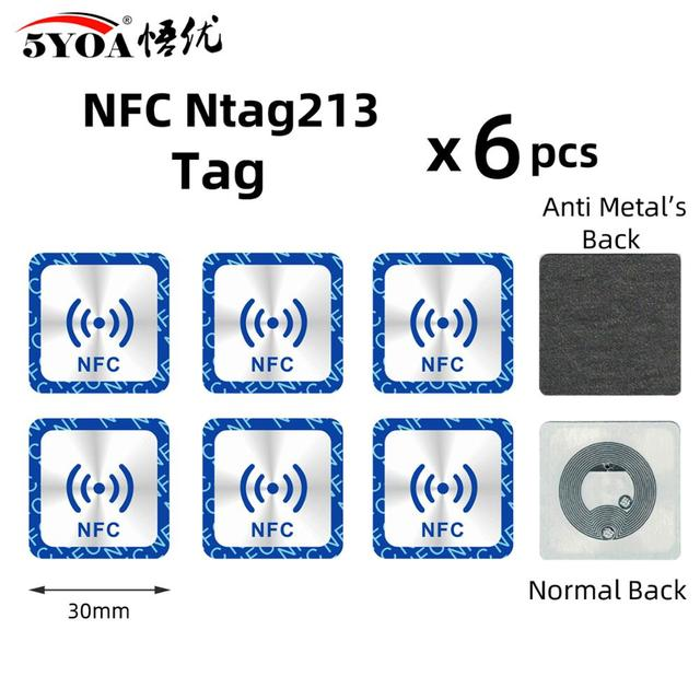 Etiqueta adesiva ntag ntag 213, 6 peças nfc ntag213 para huawei 13.56mhz, etiqueta universal rfid, token da chave, etiquetas ultraleve