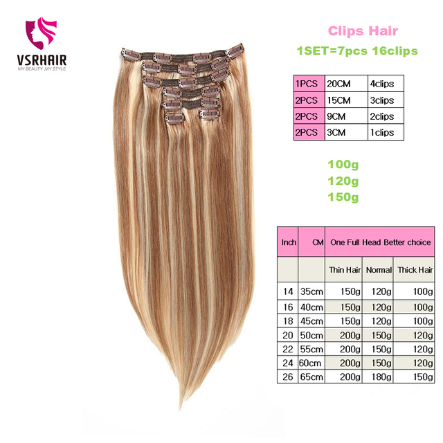 VSR 120g 150g  7pcs/set Thickness ends Machine Remy Clips Hair Natural Extensions Human Hair Clip Hair Extensions