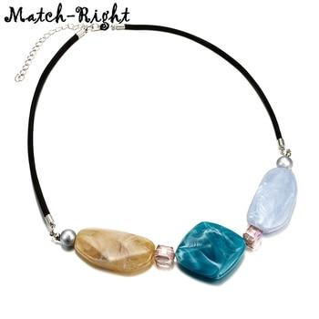 Collar de Color caramelo para mujer, collares y colgantes geométricos, collar de declaración de acrílico, nuevos regalos de joyería de moda NR071