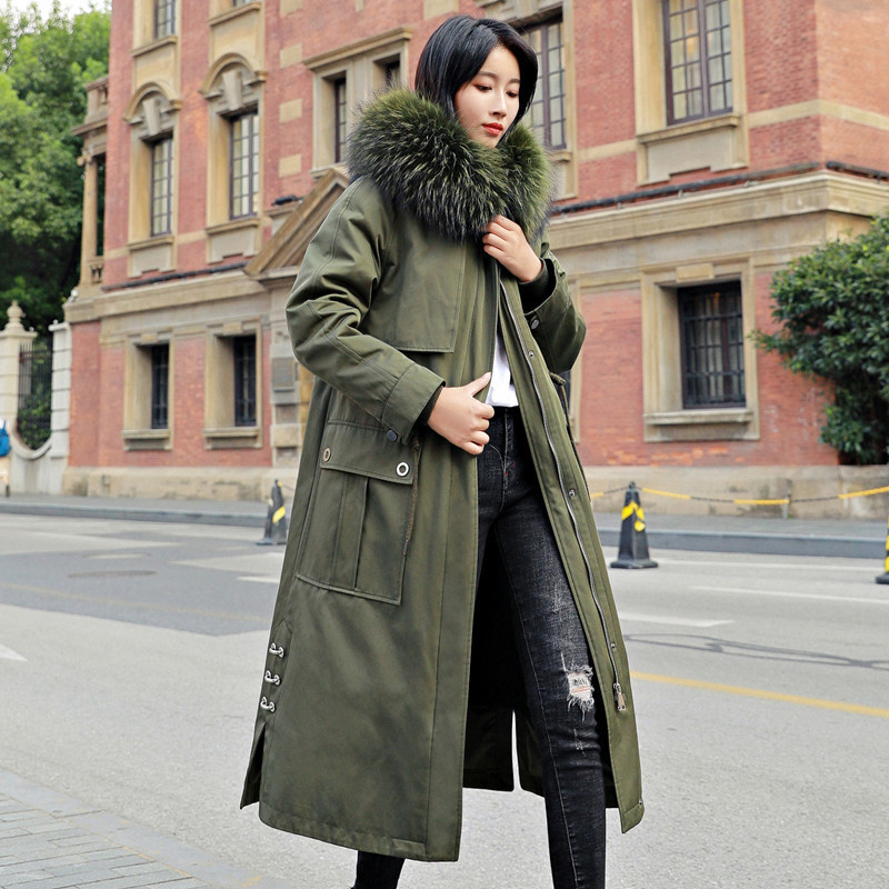 Fur Real Coat Female Natural Rabbit Fur Liner Parka 2020 Winter Jacket Women Raccoon Fur Collar Long Trench Coats MY3674 S