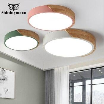 Modern Acrylic Ceiling Lights Nordic Minimalism Wooden Cafe Kitchen Ceiling Lamp Dinning Room Ceiling Light Lustre Room Lighting