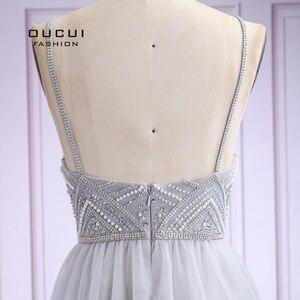 Image 5 - Vestido De noche largo De tul para mujer, De talla grande, con perlas, tirantes finos, OL103420, 2019