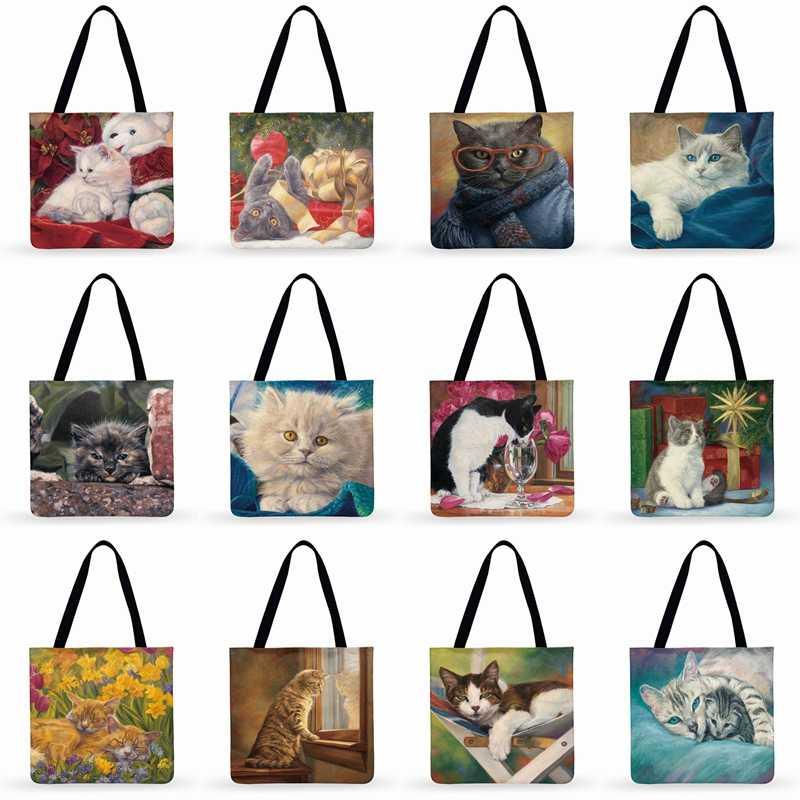 Women Casual Tote Pastoral น่ารักภาพวาดน้ำมันแมวพิมพ์กระเป๋าสุภาพสตรีกระเป๋าสะพายกระเป๋าชายหาดพับได้ช้อปปิ้งกระเป๋า
