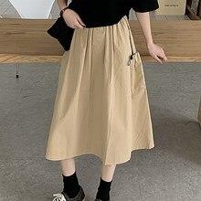 Vêtement Femme 2021 wiosenna dopasowana spódnica z wysokim stanem na odzież damska linia Midi Sukienka w stylu Vintage proste koreański, z długimi spódnice