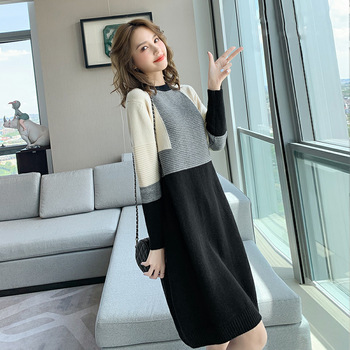 Sweater Dress Women Autumn Winter Loose Long Sleeve Warm Casual Elegant Patchwork Jumper 2020 New