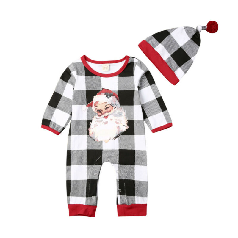 0-18M 2PCS Infant Baby Boy Clothes Girl Clothes Christmas Long Sleeve Romper Jumpsuit Hat Outfit Set