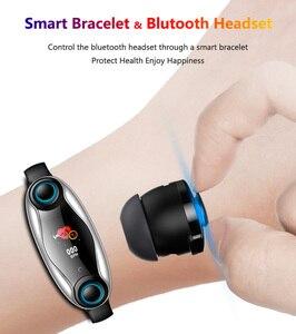 Image 5 - T90 TWS Bluetooth douszne słuchawki 2 w 1 BT 5.0 inteligentna opaska mężczyźni kobiety android ios zegarek zadzwoń bransoletka fitness douszne zatyczki do uszu