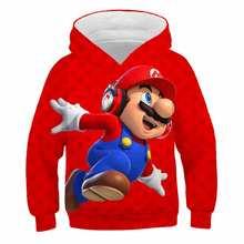 2020 mario venda quente roupas meninos meninas de manga comprida hoodie topos crianças poliéster roupas para 4-14 anos crianças roupas dos desenhos animados
