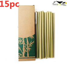 15Pc/Set 20cm Bamboo Straw Reusable Organic Drinking Straws Natural Wood For Party Birthday Wedding Bar Tool