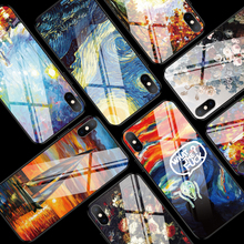 Luxury Abstract Painting Phone Cases for iPhone 7 8 Plus X XS MAX XR Glossy Tempered Glass Cover Shell Case 6 6S PLUS