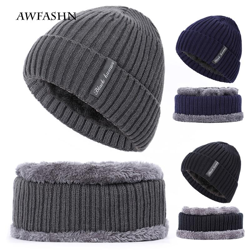 2019 2 Piece Set Winter Men's Plus Velvet Thick Knit Hat Scarf Cap Warm Woman Soft Hats Scarf Casual Cotton Bones Face Mask  New