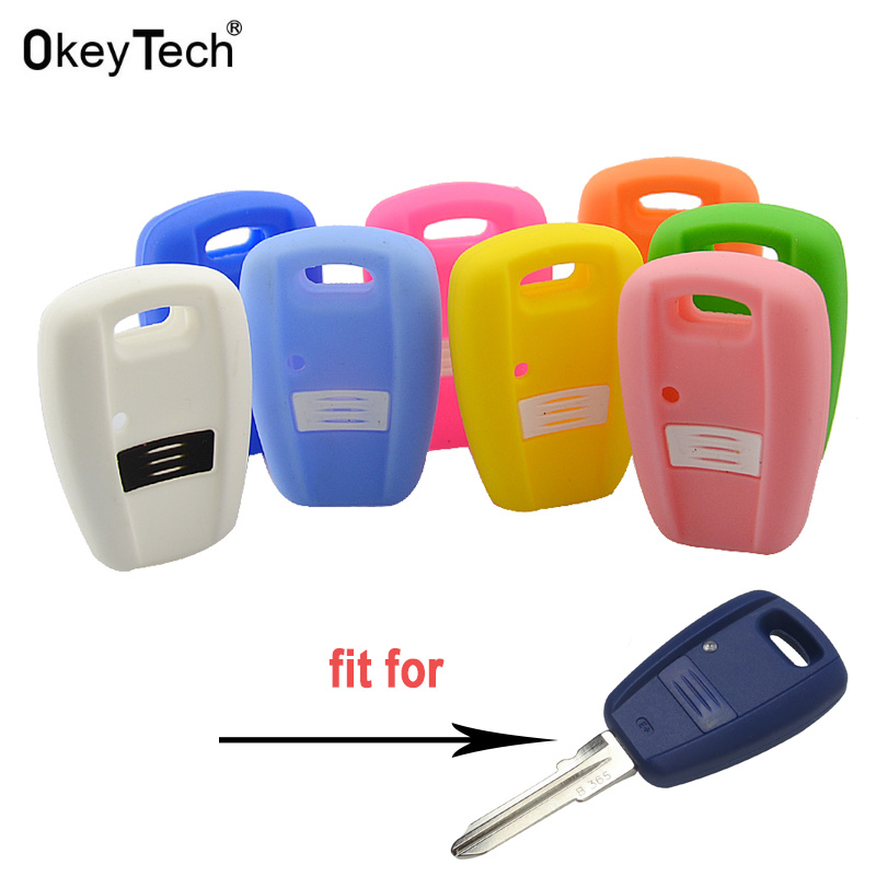 OkeyTech Soft Rubber Car Key Case Silicone Key Cover For Fiat Punto Stilo 500 Ducato Bravo Panda Auto Key Blank Transponder Key