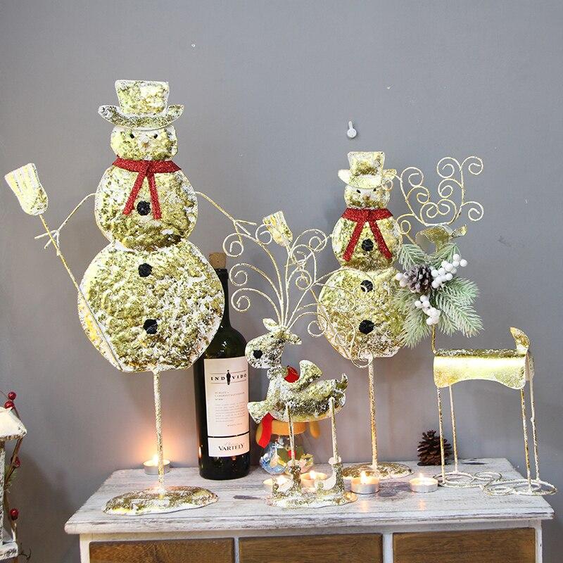Ручная работа, Золотой Рождественский северный олень, украшение для дома, Рождественский Декор, вечерние украшения для праздничного салона - 5