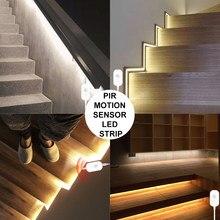 Bande lumineuse LED avec capteur de mouvement PIR USB, étanche, 5V, sous-meuble, lampe de cuisine, ruban 2835, éclairage de chambre à coucher, 5M