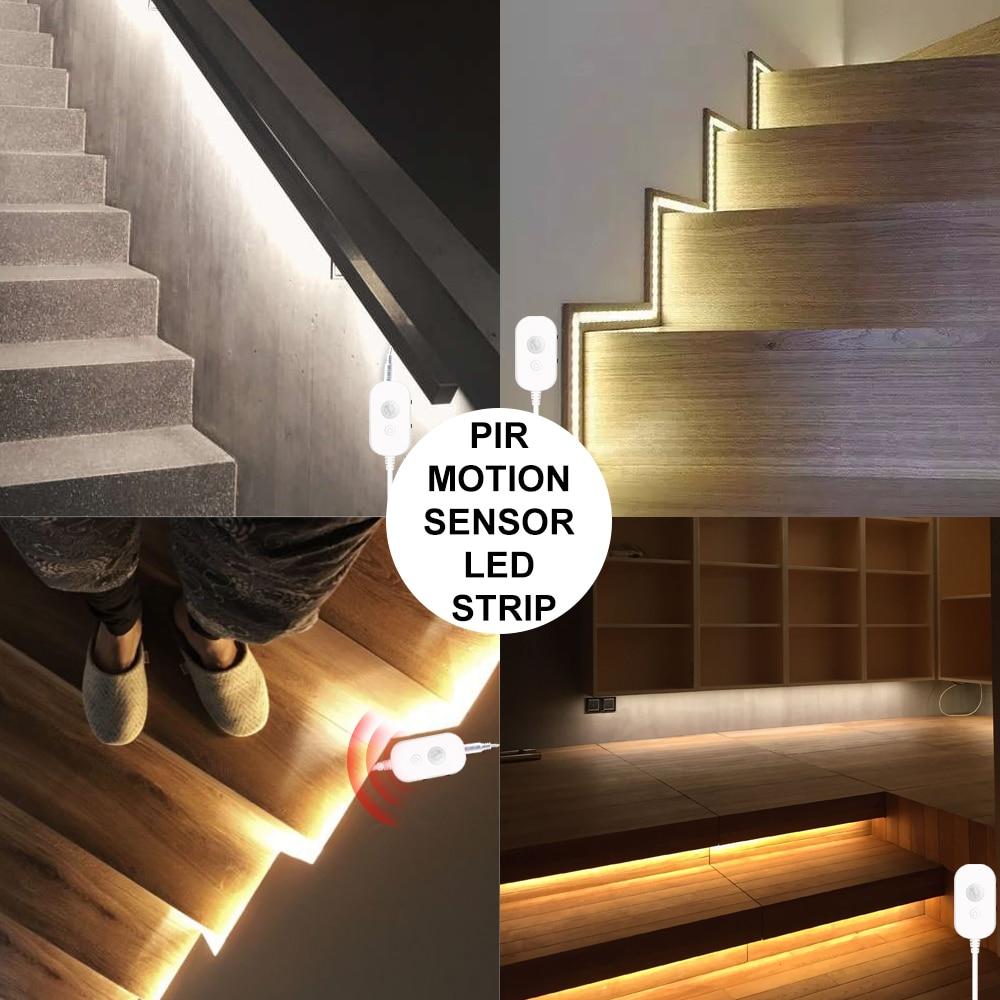 Tira de luz LED de 5M PIR impermeable Sensor de movimiento USB 5V bajo la luz del Gabinete lámpara de cocina 2835 cinta LED tira iluminación del dormitorio