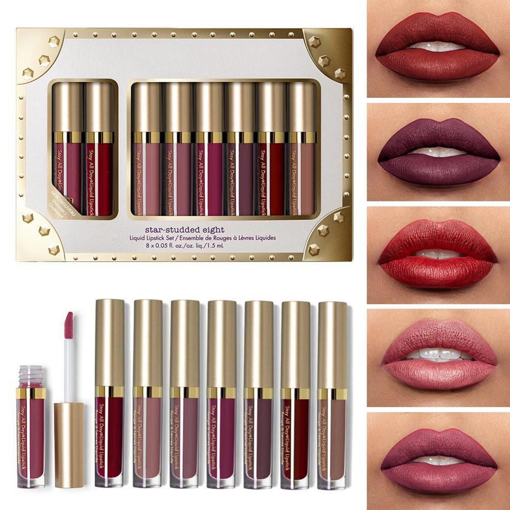 Liquid Matte 8Pcs Lipstick Set Waterproof Makeup Lip Gloss Comfortable Long-lasting Lipgloss Kit Cosmetics(China)