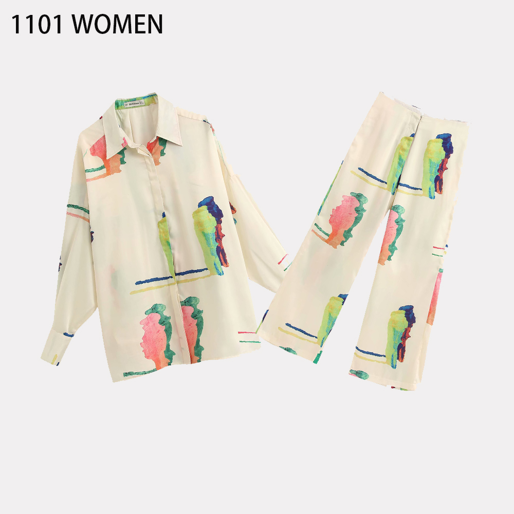 2020 NEW Summer Spring Women 2 Pieces Set Colourful Printed Full Sleeve Blouse Long Pants Suit Female Casual Woman Clothes