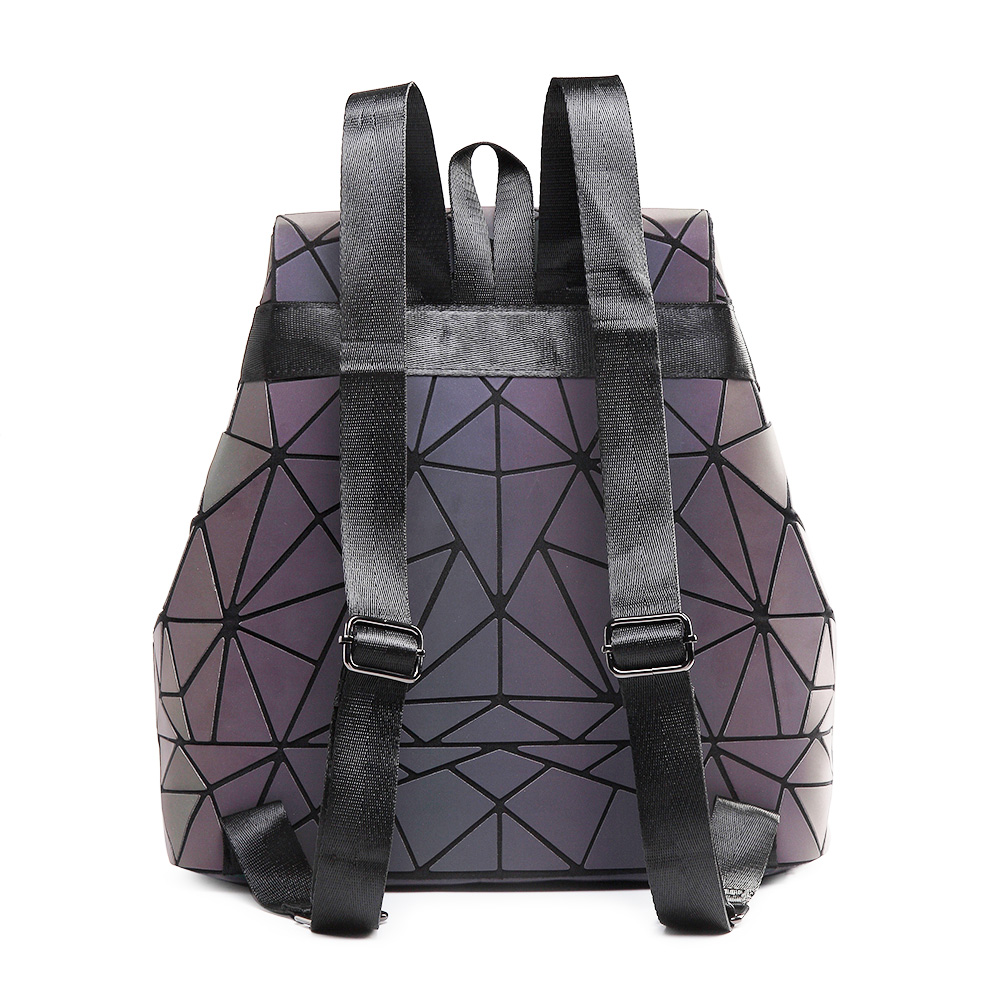 Image 2 - 女性バックパック発光幾何チェック柄スパンコール女性バックパック十代の少女 Bagpack 巾着バッグホログラフィックバックパック    グループ上の スーツケース