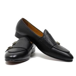 Image 5 - פליקס CHU סתיו Mens עור ופרס אדון מסיבת חתונה מזדמן להחליק על נעליים רשמיות שחור חום נזיר רצועת גברים שמלה נעליים