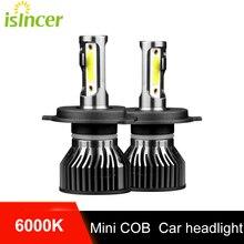 ISincer 10000LM 2Pcs 6000K Car LED Farol H7 H4 HB29005 9006 HB3 HB4 H1 H11 H8 H9 Led Mini Farol Do Carro Com Chip de COB
