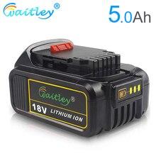 цена на Waitley DCB184 18V 5.0Ah Replacement Battery Compatible For Dewalt 20V 5000mAh/5Ah Max XR Tools 18 v DCB200 DCS355N-XJ, DCS551N