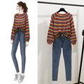 Arco-íris listrado camisola feminina outono coreano moda feminina 2 pçs define solto casaco apertado elástico cintura alta jeans roupa de duas peças