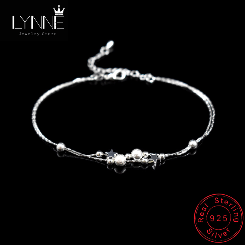 Newest Fashion Double Layer Star Frosted Bead Pendant Anklets 925 Sterling Silver Summer Foot Chain Bracelets Women Jewelry Gift