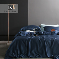 Lanlika 100% Silk Bedding Set 25 Momme Blue Luxury Silky Healthy Skin Duvet Cover Set Home Textile Bedding Set Women Man Kid