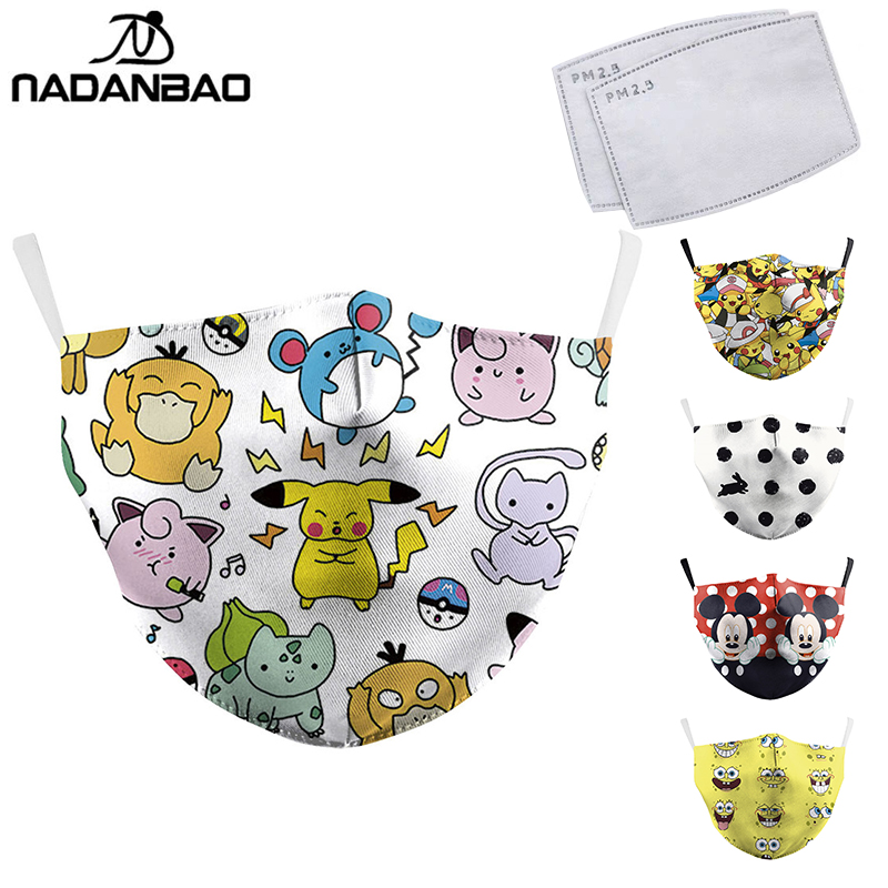 NADANBAO Cartoon Mask Totoro Print Face Masks Cute Reusable Pink Unicorn Masks Fabric Protective PM2.5 Washable Masks Proof Haze