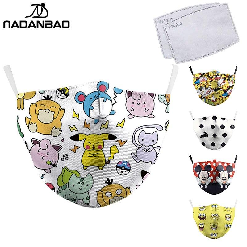 NADANBAO Cartoon Mask Totoro Print Face Masks Cute Reusable Pink Unicorn Masks Fabric Protective PM2.5 Washable Masks Proof Haze