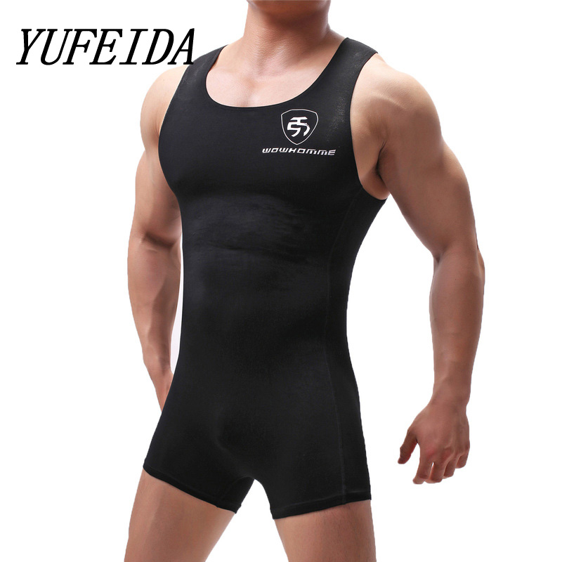 Sexy Undershirts Modal Breathable Men Bodysuit Body Stocking Sexy Jumpsuit Wresting Undershirts Shaper Gay Club Jumpsuit Singlet