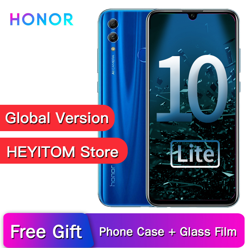Original Honor 10 Lite global version Smartphone EMUI 9.0 Full Screen 6.21 FHD 2340X1080 Front AI 24MP Rear 13MP