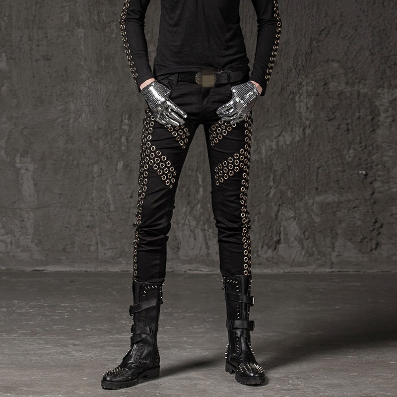 2020 Winter New Casual Men Pencil Trousers Fashion Solid Rivet Elastic Pants Punk Style Slim Fit Hip Hop Street Dance Pants