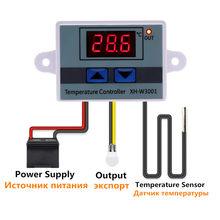 Controlador de temperatura digital ac, controlador de temperatura digital 220 para incubadora de refrigeração termostato ntc 10a 12v 24v XH-W3001 v sensor
