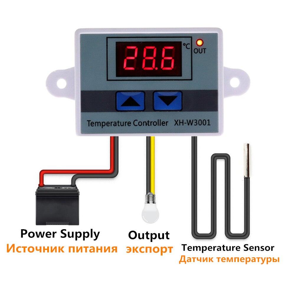 10a 12 v 24 v 220 v ac digital led controlador de temperatura XH-W3001 para incubadora refrigeração interruptor aquecimento termostato sensor ntc