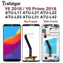Trafalgar ekran için Huawei Y6 2018 LCD ekran ATU L31 L21 LX1 L42 için dokunmatik ekran Y6 başbakan 2018 çerçeve ile ekran