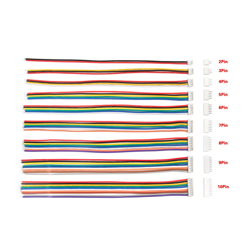 10Set 150mm ZH-1.5 Wire <font><b>Cable</b></font> <font><b>Connector</b></font> DIY ZH-1.5 28AWG JST <font><b>2Pin</b></font>-10Pin Electronic Line Single Connect Terminal Plug Connectors image