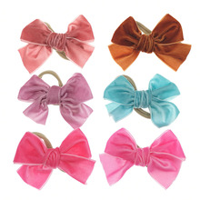 Velvet Nylon Baby Headbands Baby Girls Vintage BowKnot HairBand Photography Props Ties Batch Hair Accessory Kidocheese