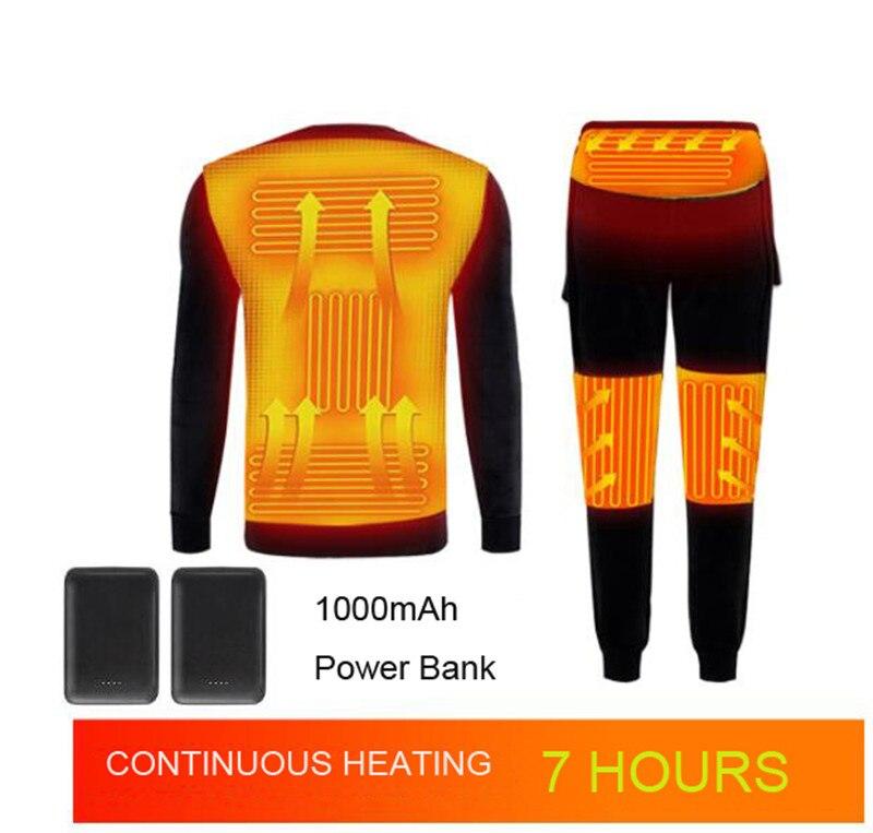 Winter Heated Underwear Fleece Lined Heating Thermal Underwear Set USB Electric Heated T-Shirts & Pants Battery Powered Ski Wear