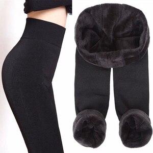 Image 2 - NORMOV vrouwen Warm Leggings Hoge Taille Elastische Dikke Fluwelen Leggings Legins Fitness Solid Slim Legging Vrouwelijke Plus Size